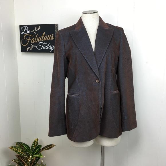 Harve Benard Jackets & Blazers - Harve Benard Brown Blue Corduroy Blazer Jacket